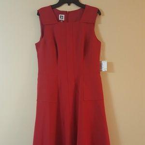 ANNE KLEIN Summer Red Apple Dresses Ladies Career